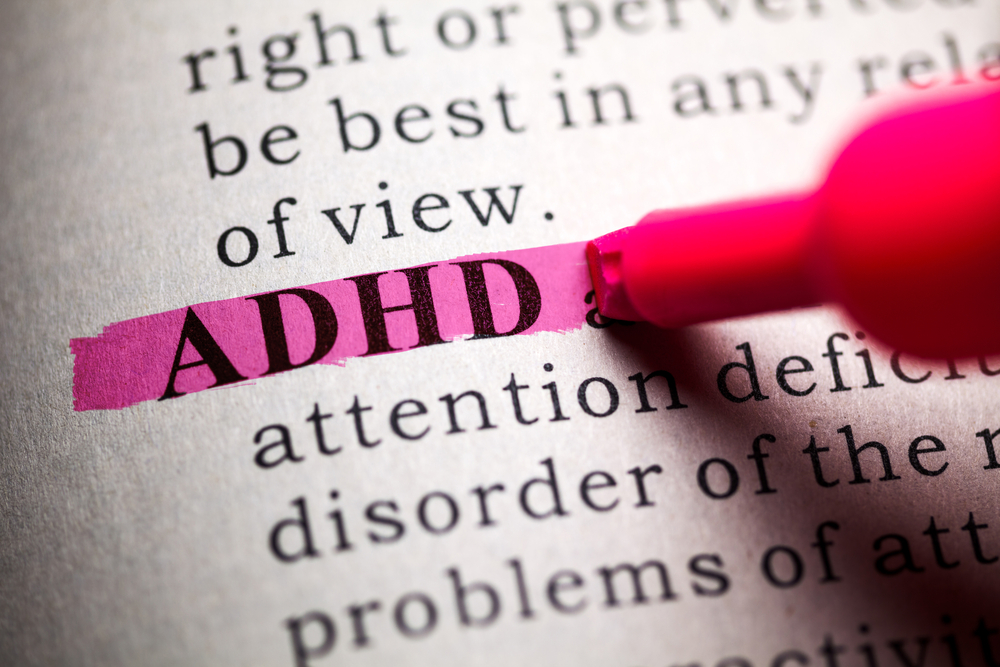 ADHD highlighted in the dictionary