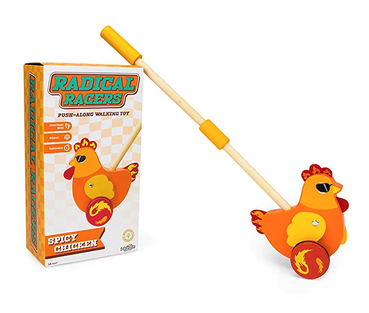 Radical Racers Spicy Chicken Wooden Push-Along Walking Toy by Imagination Generation