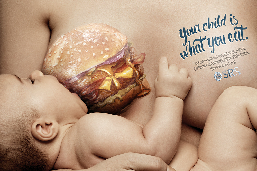 breastfeeding PSA with burger