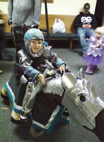 magic wheelchair knight and horse costume