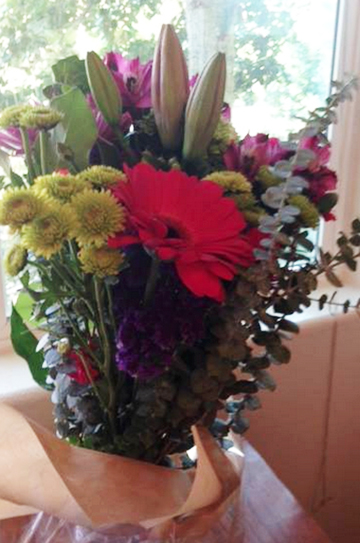 bouquet of flowers from neighbor