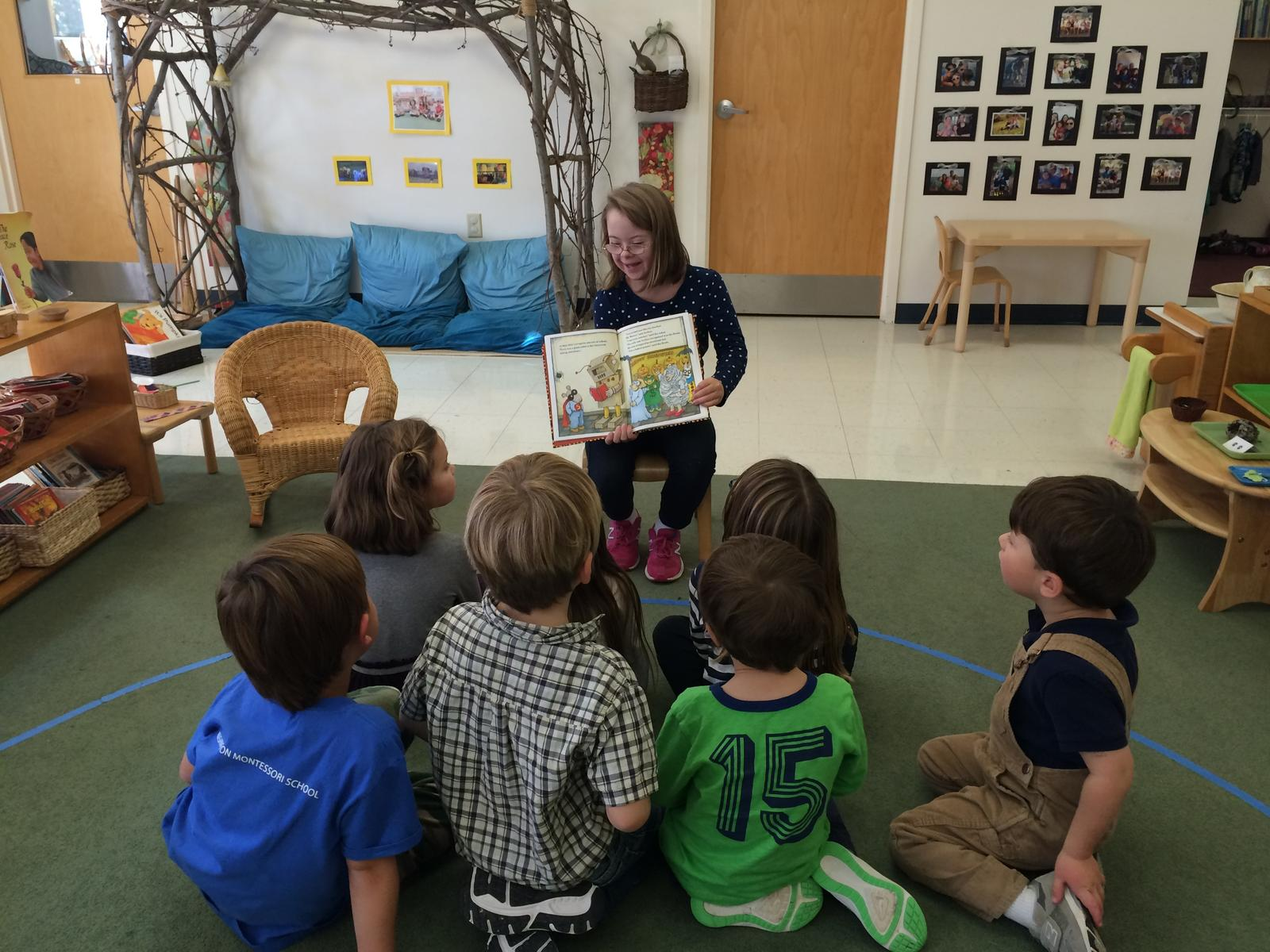 Penny reading to a preschool class