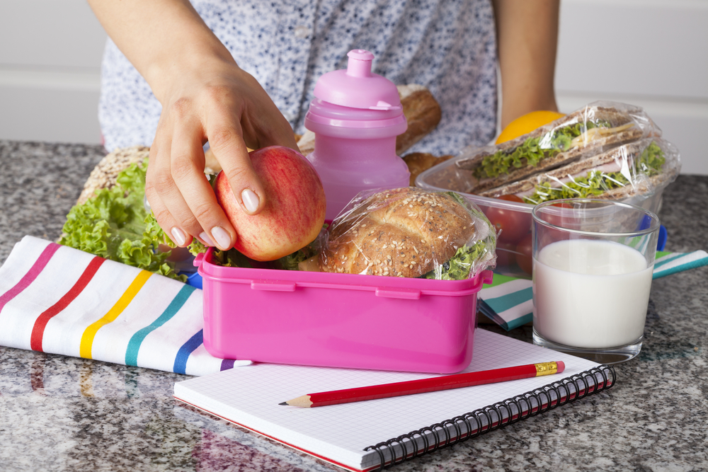 Woman packing school lunch