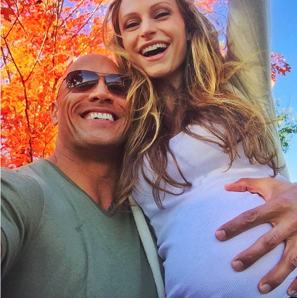 The Rock and Lauren Hashian gender reveal photo