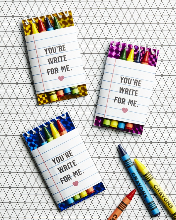 crayons and notepads valentine