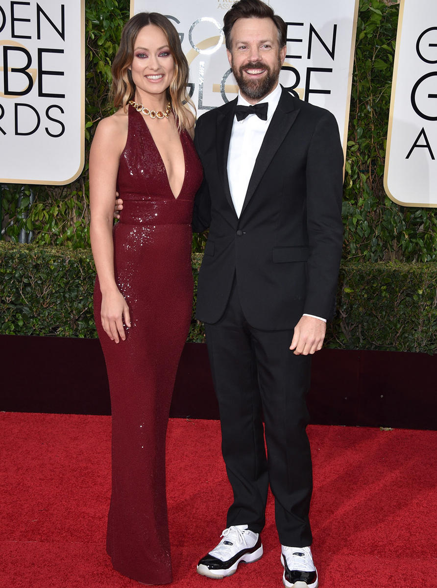 olivia wilde and jason sudeikis at Golden Globes 2015