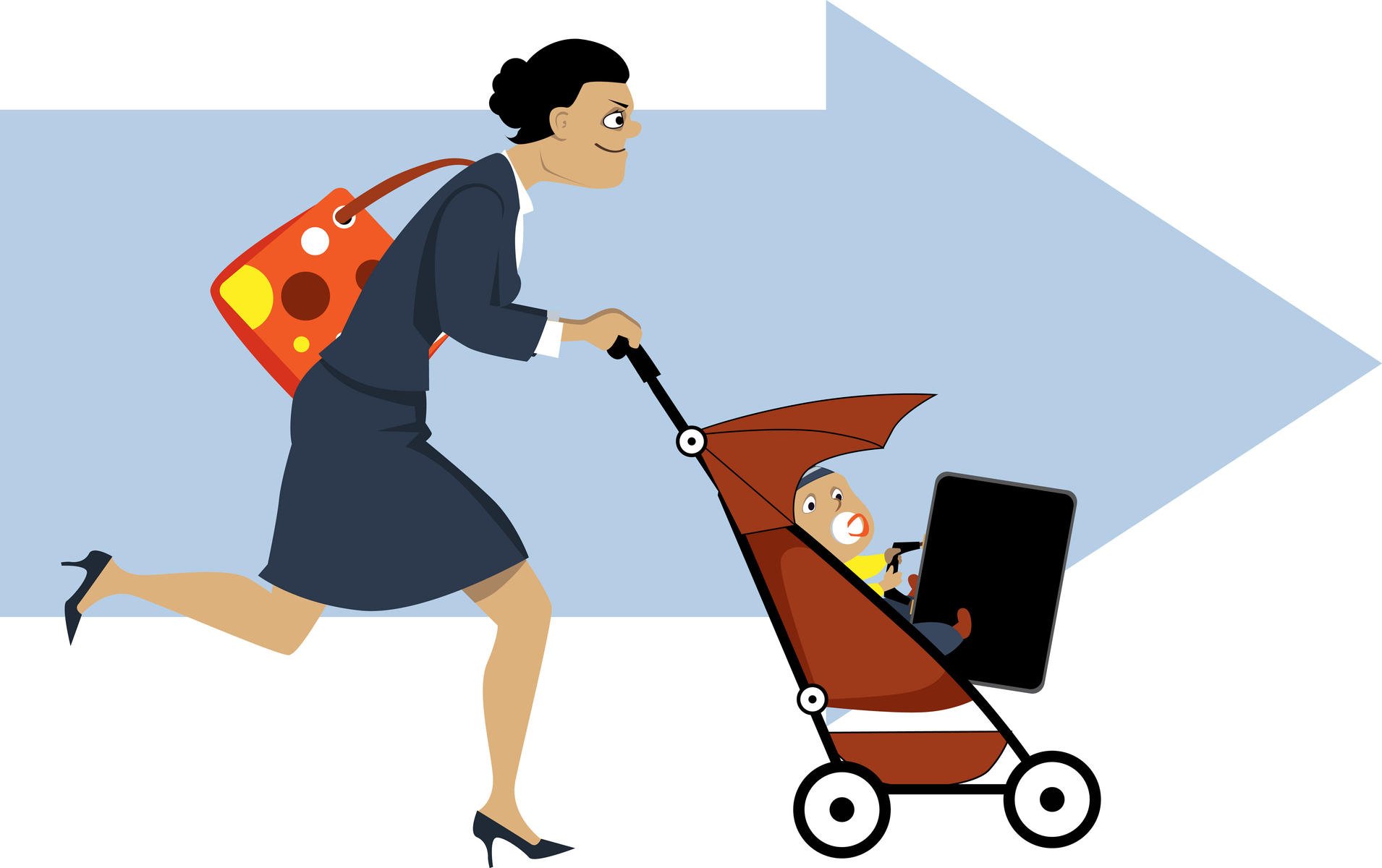 Cartoon Mom Pushing Stroller