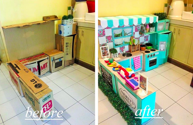 cardboard play kitchen