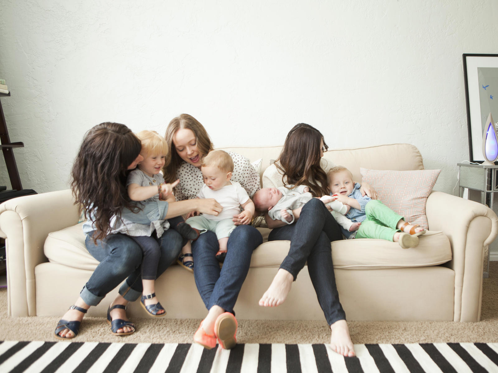 Moms and Kids on Couch