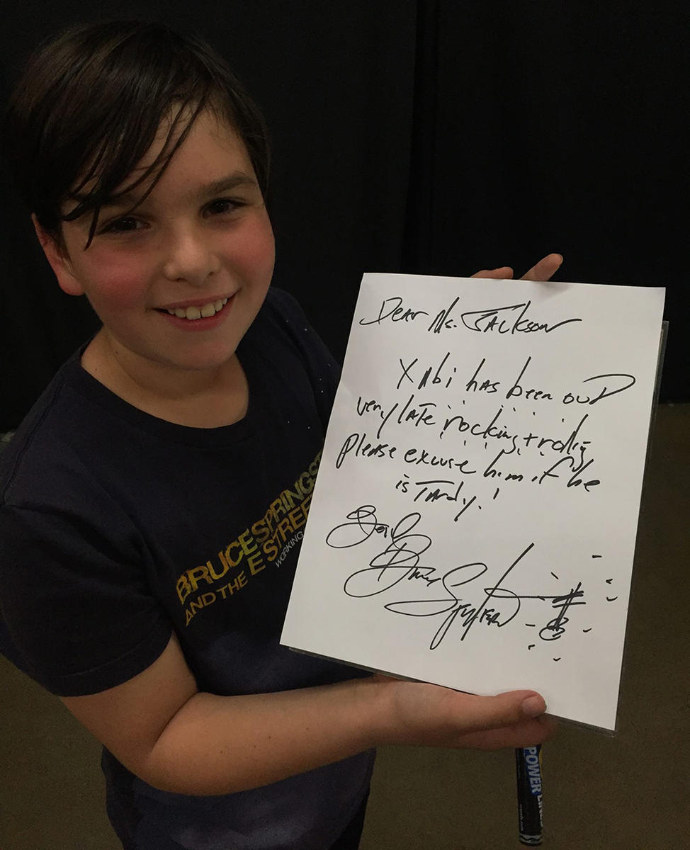 tardy note from Bruce Springsteen