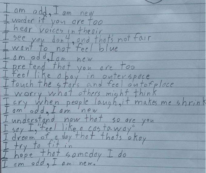 Boy with autism writes beautiful poem about how he experiences the world.