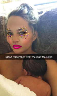 chrissy teigen and baby sparkly eyes snapchat filter