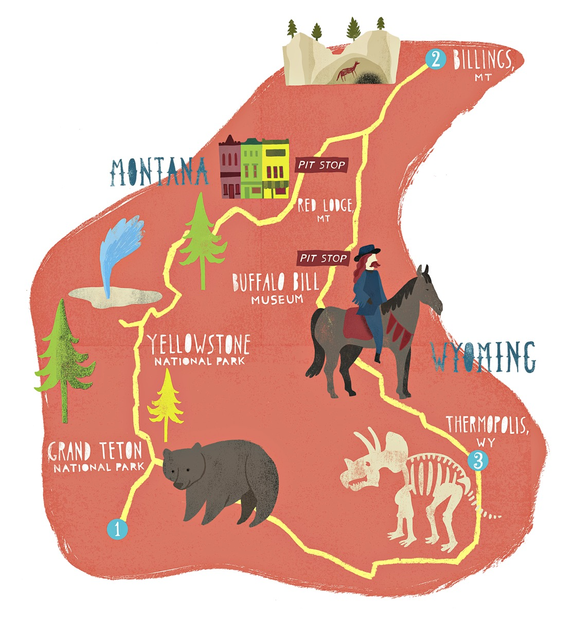 Wyoming to Montana Illustrated Map