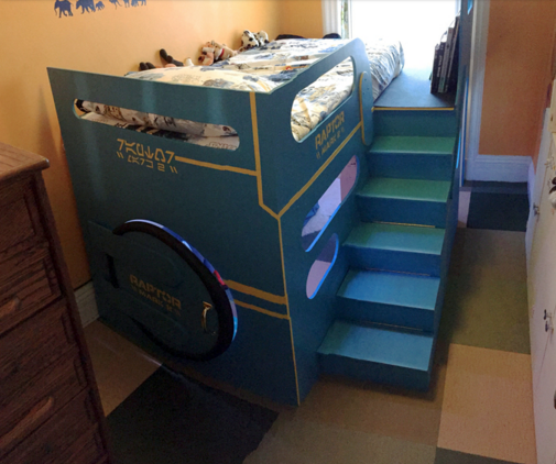 Spaceship loft bed dad built for his son.