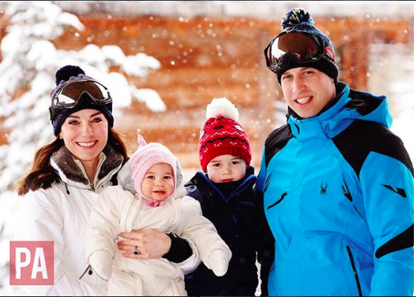 Duchess Kate, Prince William, Prince George and Princess Charlotte on ski vacation in French Alps.