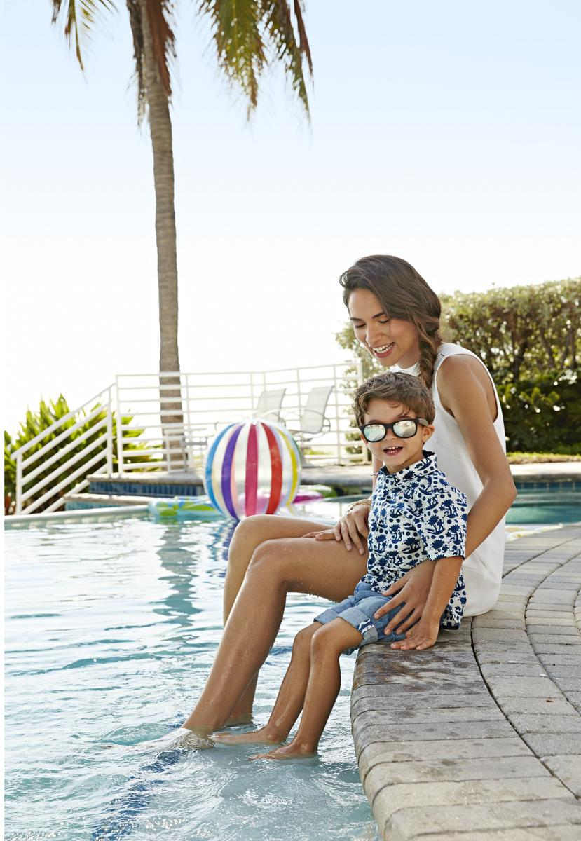 Mom and Son by Pool