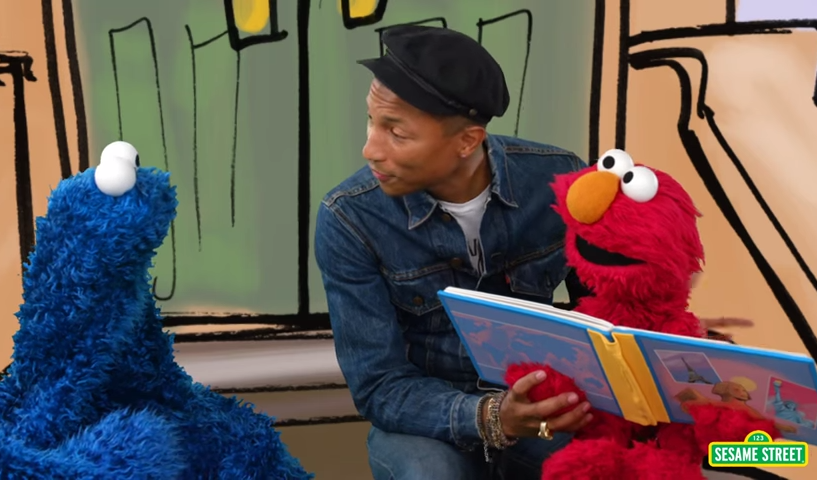 pharrell williams with elmo and cookie monster