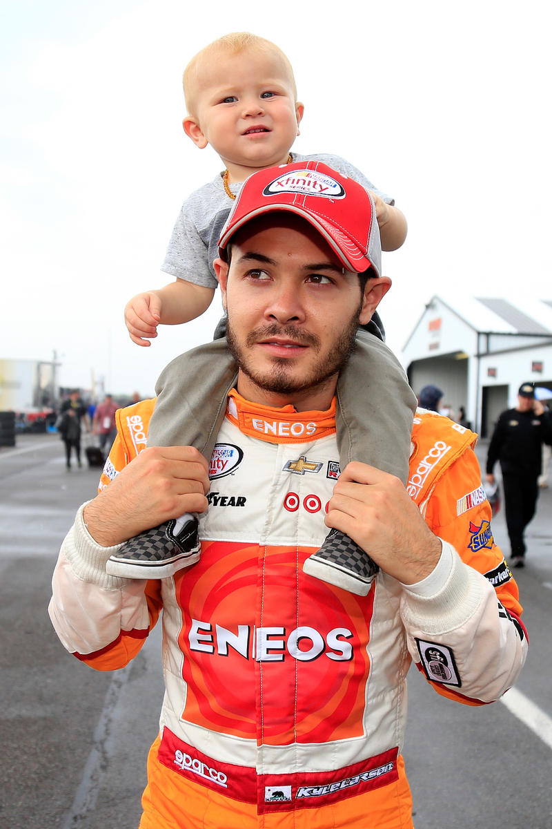 NASCAR driver Kyle Larson and his son Owen