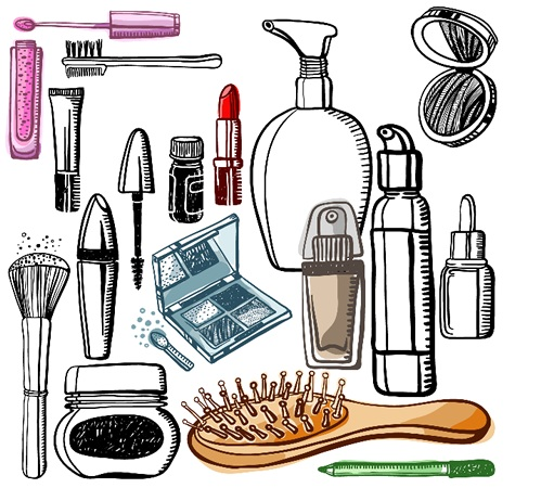 illustrated beauty products
