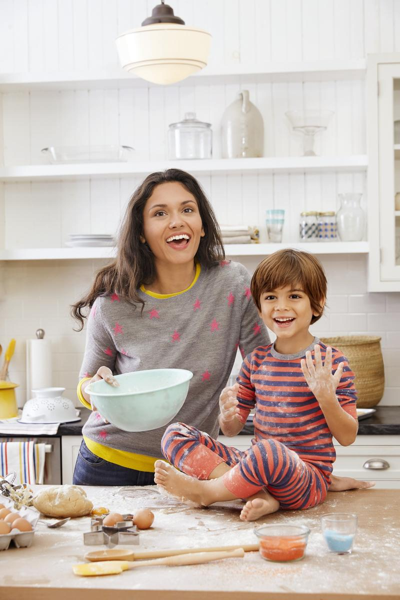 Latina Mom Baking with Son