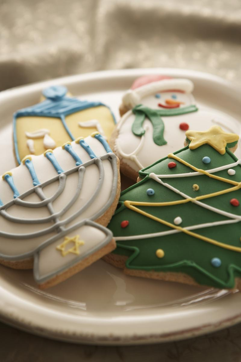 Christmas And Hanukkah Cookies On A Plate