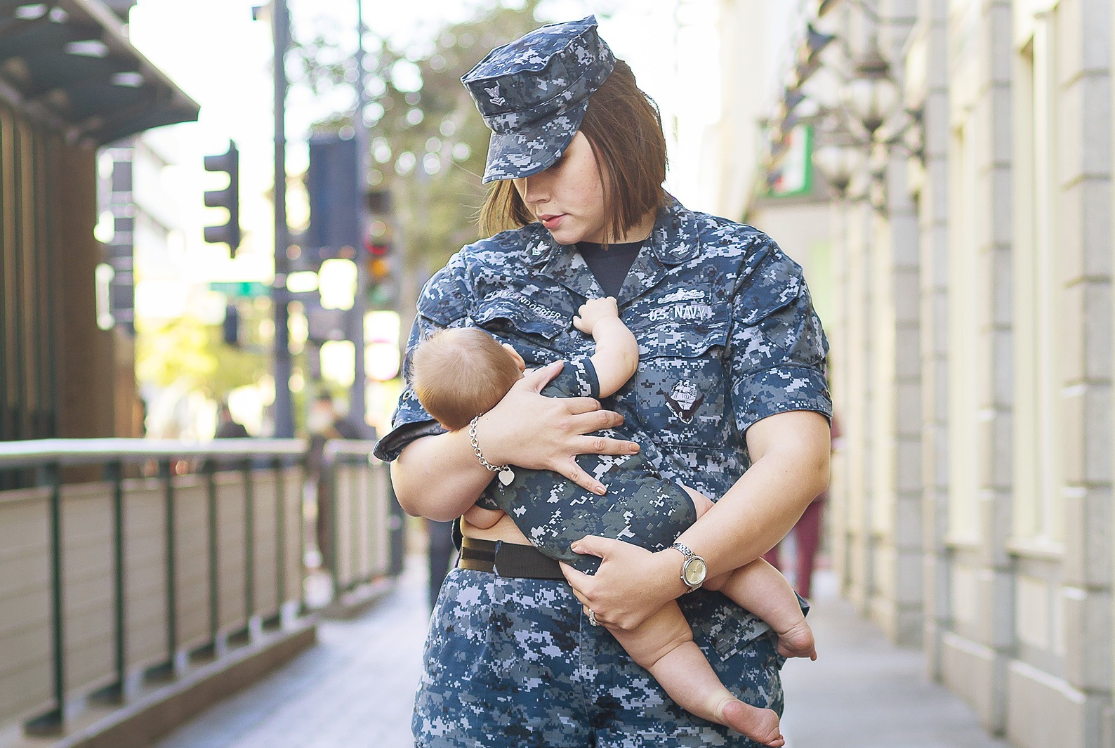 Military Mother Breastfeeding Child