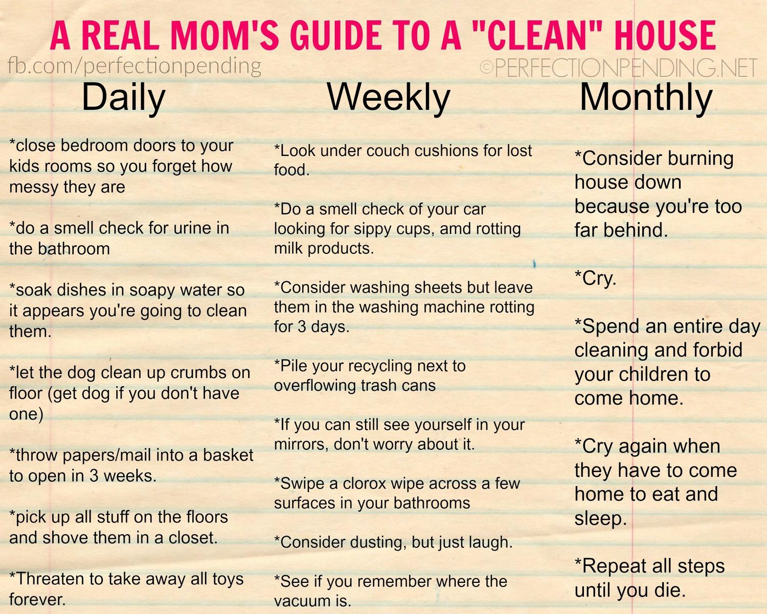 a real moms guide to a clean house