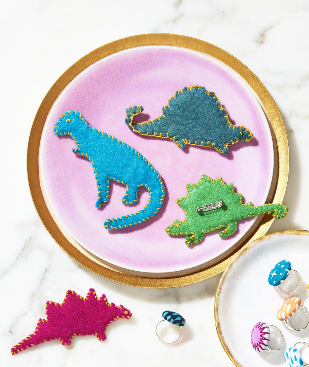 Jewelry Kids Make Felt Dino Brooches