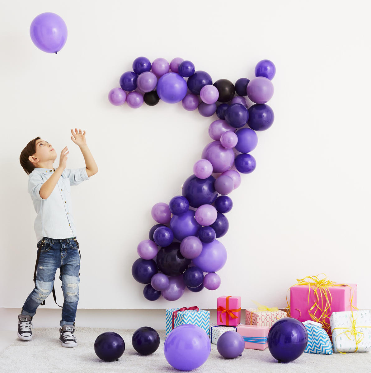 Birthday Craft Beautiful Balloons Purple Number Seven