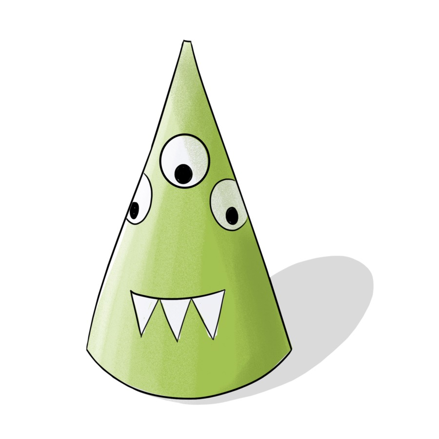 Birthday Craft Play With Stickers Green Monster Cone Hat
