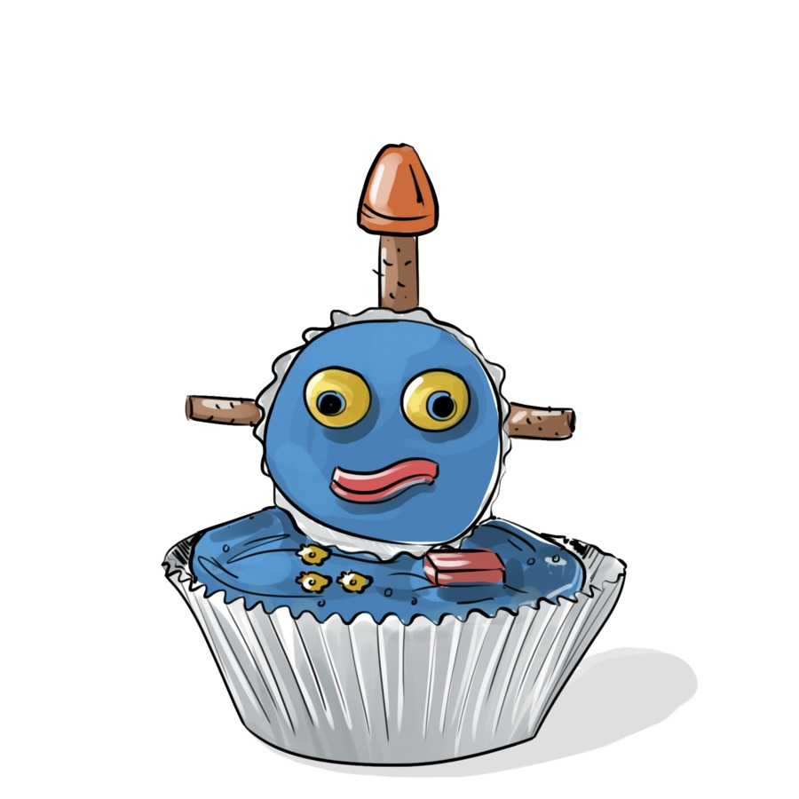 Birthday Craft Blue Mini Robot Cupcake