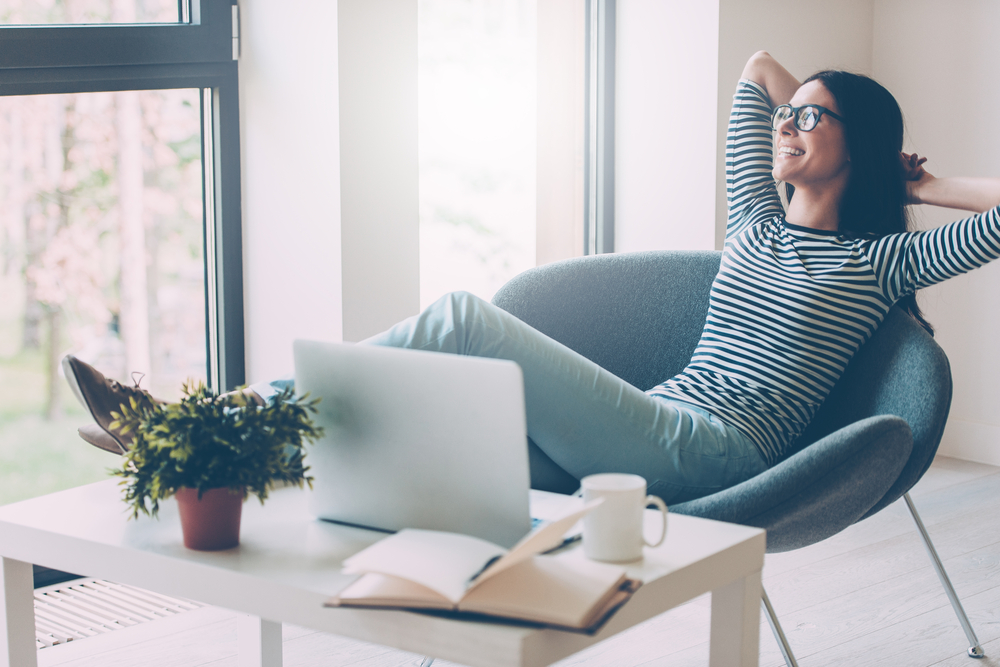 Woman Relaxing At Work