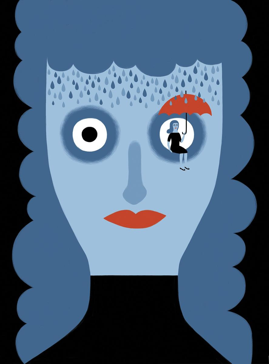 Misdiagnosed Health Depressed Woman Blue Abstract Illustration