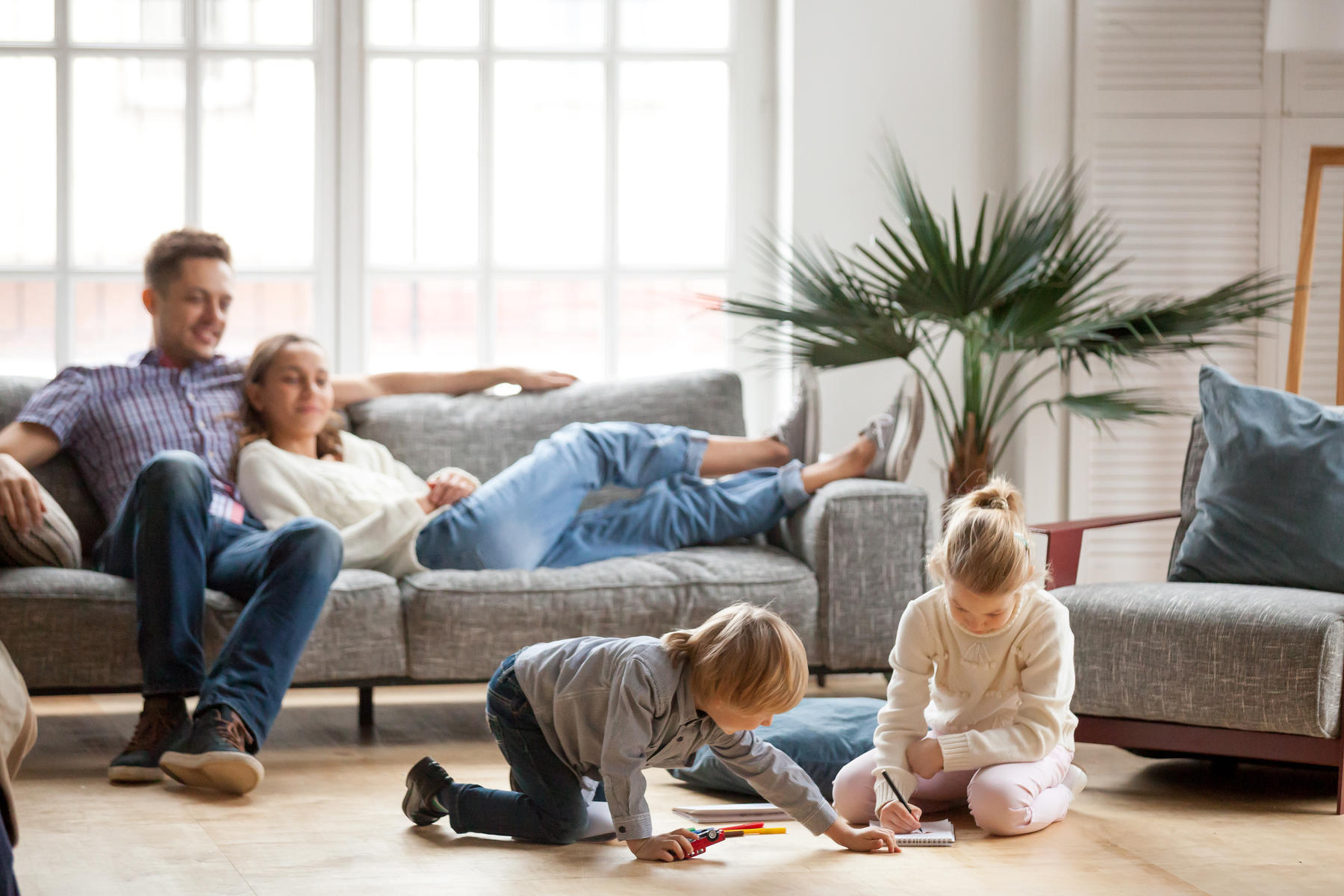 Family Relaxing in Living Room