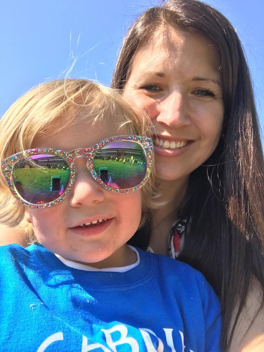 Laura Kowalski and Child in Sunglasses