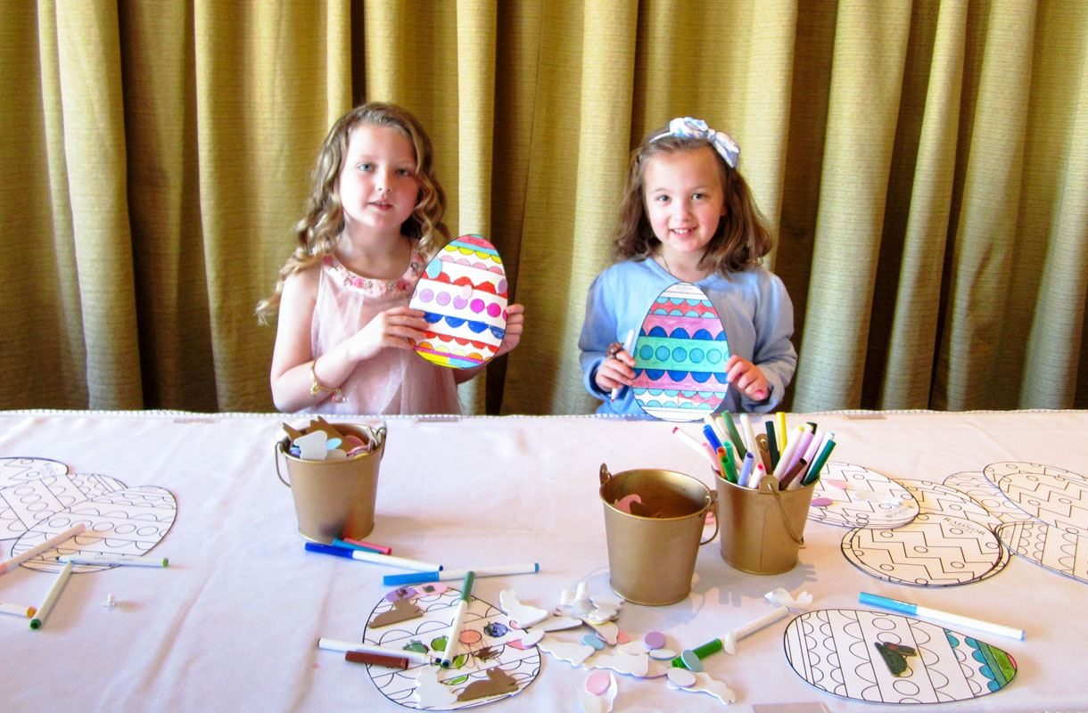 The Radnor Hotel Girls Coloring Eggs