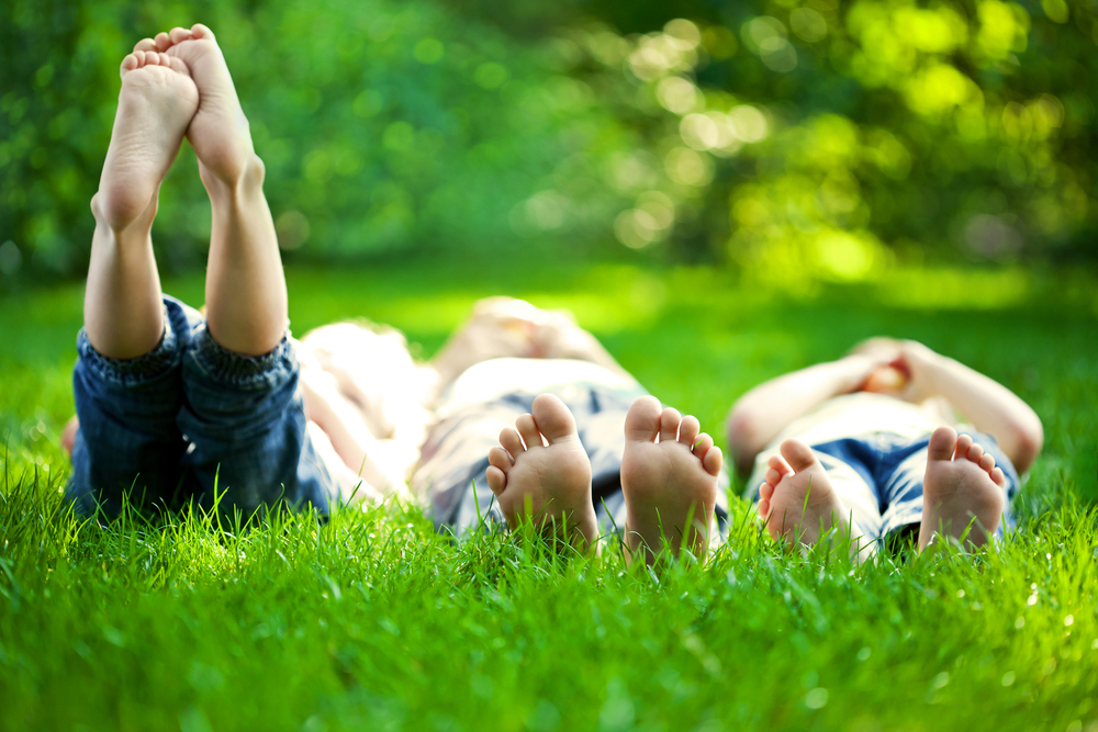 Kids Lying In Grass