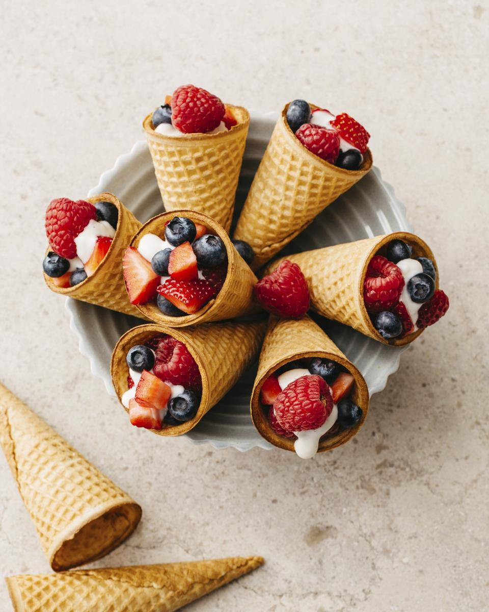 Berries-and-Yogurt Cones