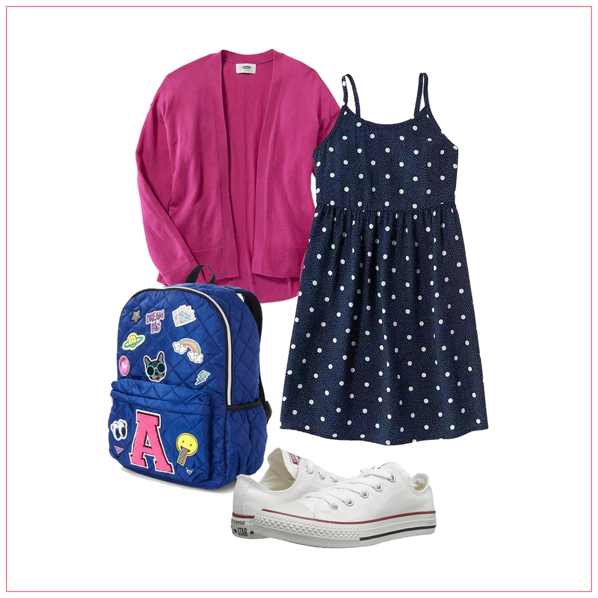 A polka dot dress, pink cardigan, and embroidered backpack