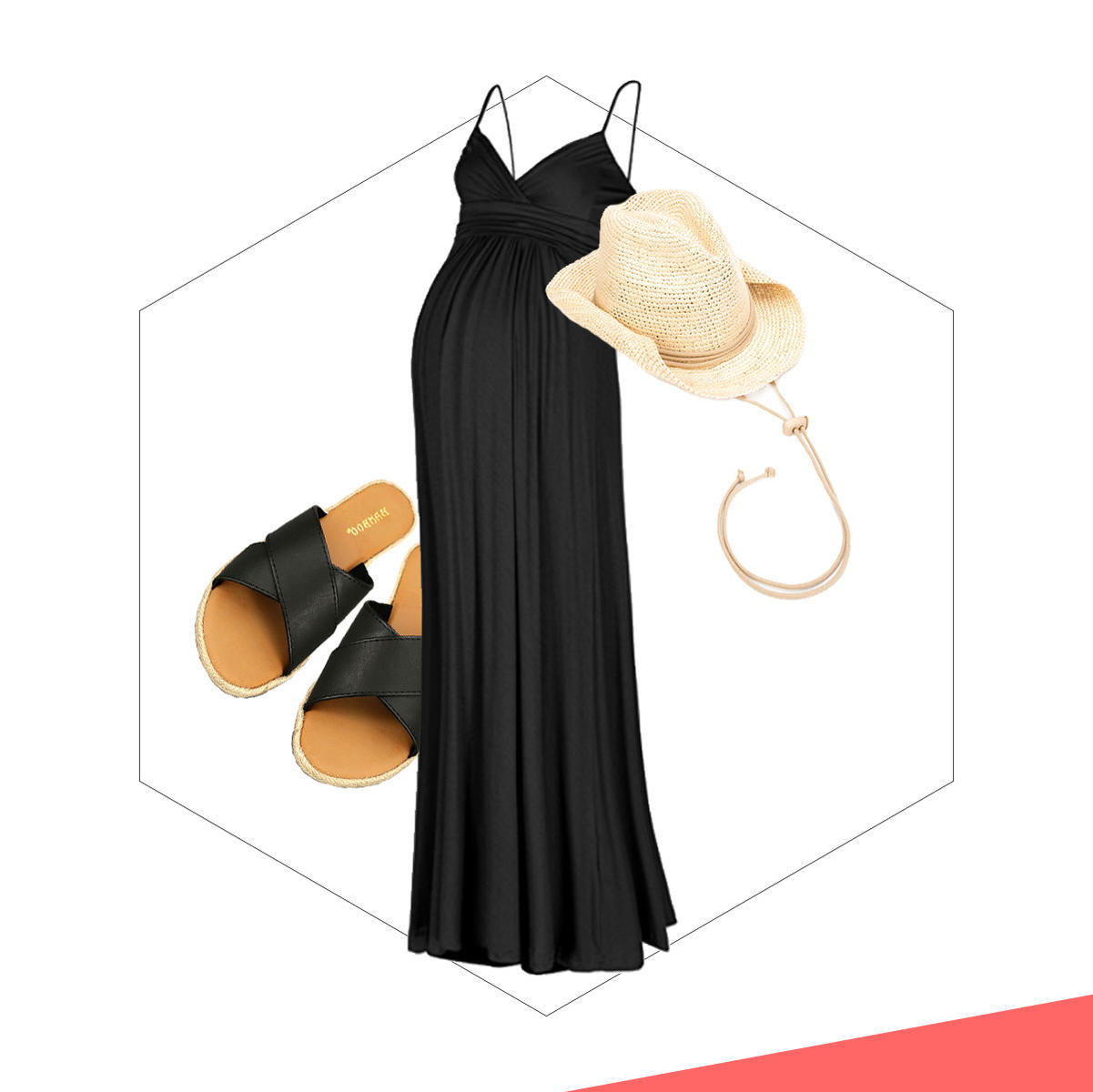 A black maxi with sandals and a hat