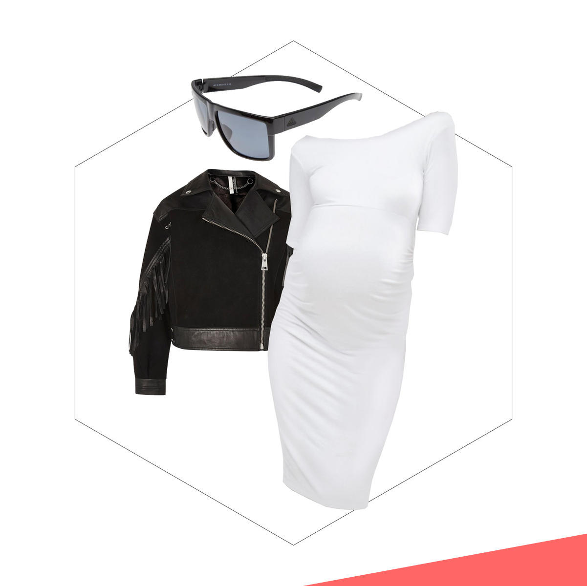 A white bodycon dress with a black leather jacket and sunglasses