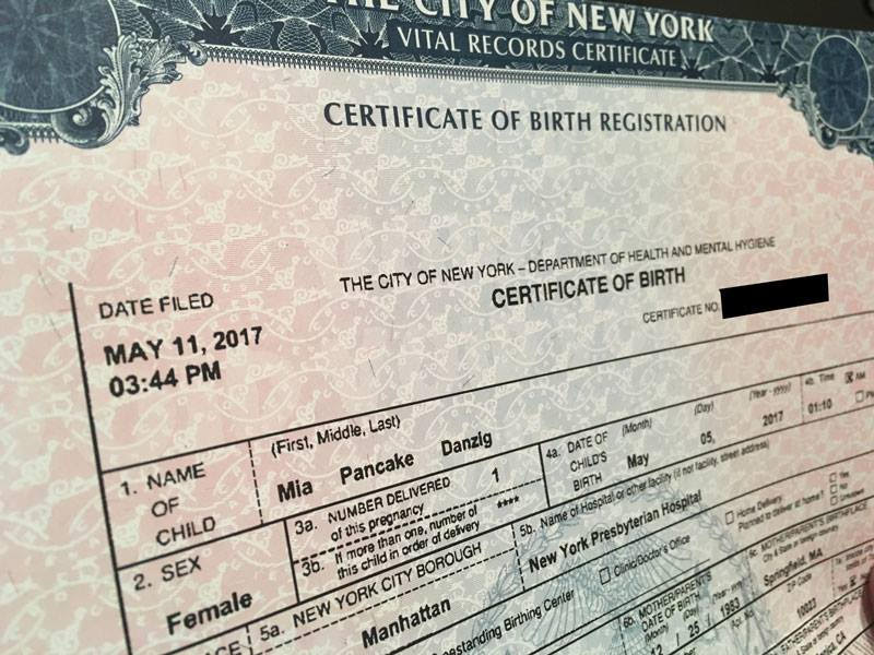 Mia birth certificate