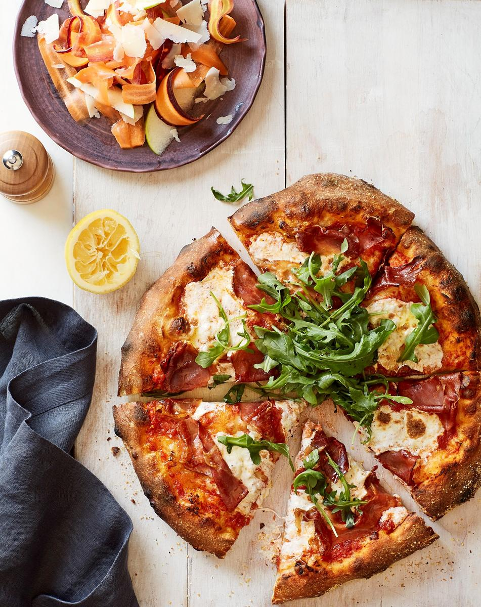 Prosciutto Pizza With Shaved Carrots and Apples