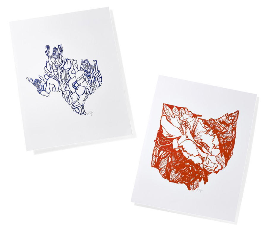 Letterpress State Flower Prints