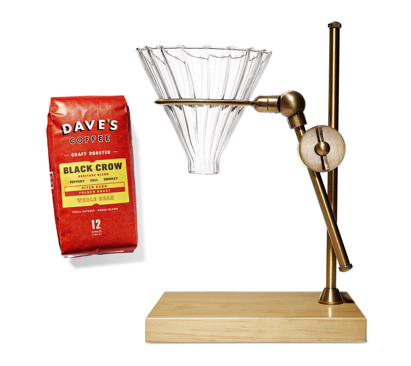 Father's Day Brass Pour Over Coffee Dripper Stand and Dave's Coffee Black Crow Beans