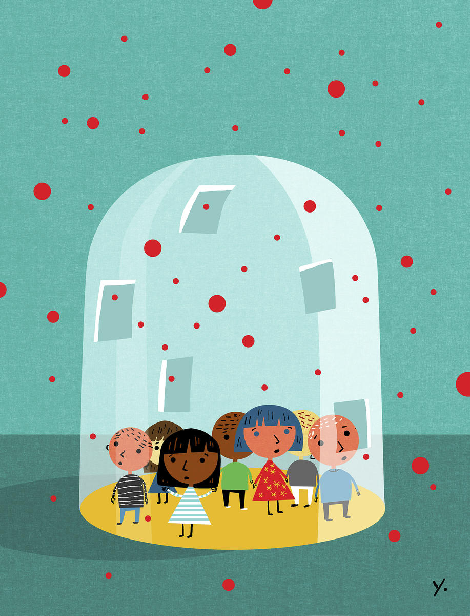 Kids With Measles Illustration