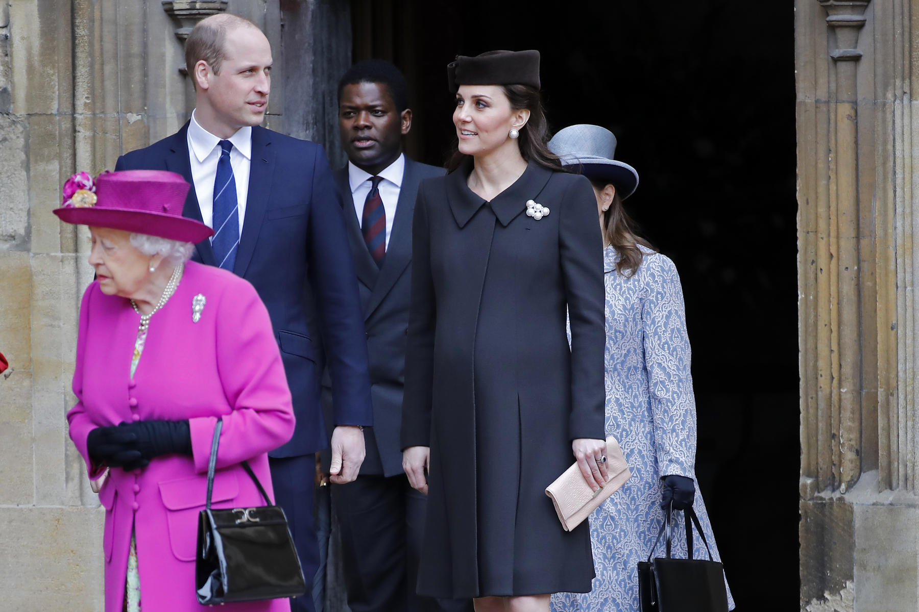 Pregnant Kate Middleton and Price William on Easter