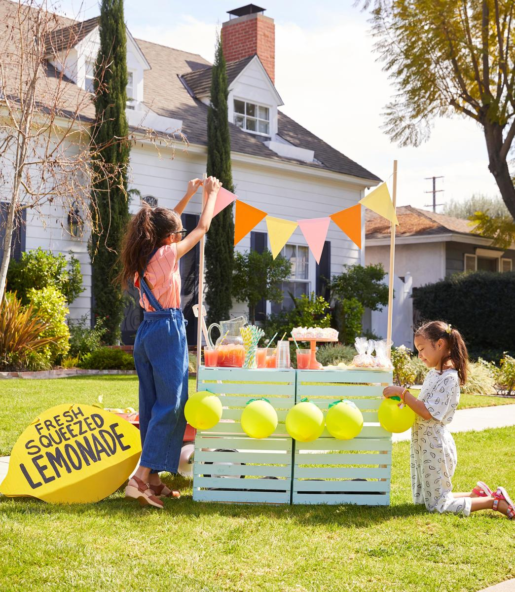 Young Girls Setting Up Fresh Lemonade Stand Outside