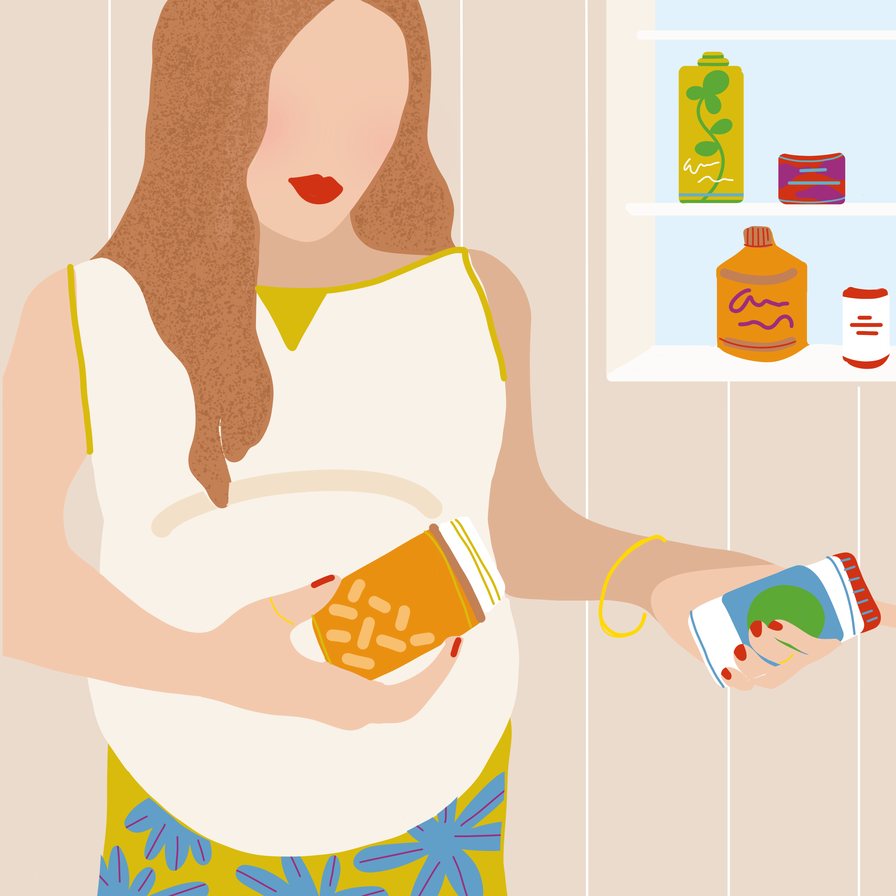 Woman considering psych medications during pregnancy illustration