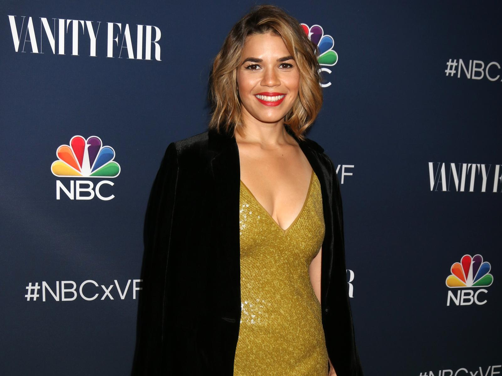 America Ferrera Gold Dress Black Blazer